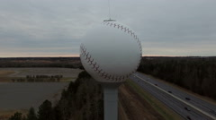 Baseball water tower fly around Stock Footage