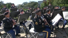 BATON ROUGE USA, JANUARY 2016, Overview Military Band Playing Outside Stock Footage