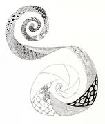 Incomplete zentangle swirl. Stock Illustration