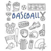 Baseball Items Hand Drawn Set - stock illustration