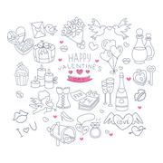 Valentines Day Handdrawn Symbols Collection Stock Illustration