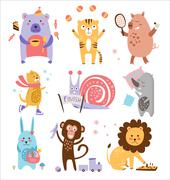 Colourful Childish Animals Vector Set Stock Illustration