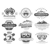 Stock Illustration of Snowboarding Logo and Label Template Set