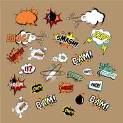 Comics Sound Effects and Explosions. Vector Illustartion Stock Illustration