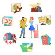 Travel and Vacation. Vector Illustration - stock illustration