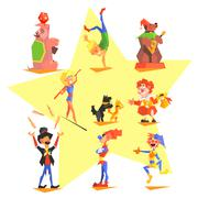 Circus collection with carnival, fun fair, vector icons - stock illustration