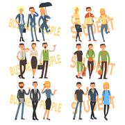 Group Cartoon Business People and Students. Vector Illustration Set Stock Illustration
