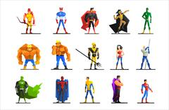Superheroes in Different Poses and Costumes Vector Set - stock illustration
