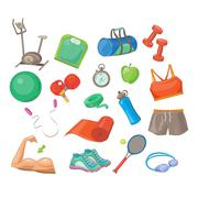 Sports Accessories, Vector Illustration Set Stock Illustration