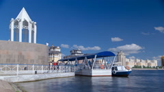 Astana, Kazakhstan. Boat station near embankment on the river Ishim timelapse in Stock Footage