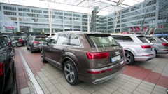 Audi cars stand in parking at Munich airport. Stock Footage