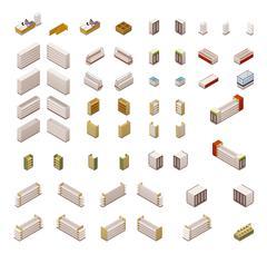 Vector isometric supermarket equipment Stock Illustration