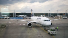 Aircraft at Frankfurt International Airport. - stock footage