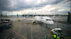 Aircraft at Frankfurt International Airport - stock footage