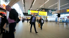 Walk along Amsterdam Airport Schiphol. Stock Footage