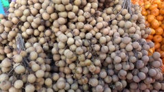 Fruit  lamyai in market  from thailand Stock Footage