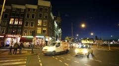 Night traffic on Dam square. Stock Footage