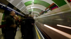 4k Time Lapse of people getting on and off the Tube, London Stock Footage