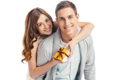 Beautiful couple on white background Stock Photos