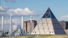 Cultural Center and Majestic mosque Hazret Sultan in Astana timelapse Stock Footage