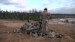 Mortar Men coduct an exersise Stock Footage