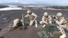 U.S. Marines conduct live training with mortars and 50 Cal Machine guns Stock Footage