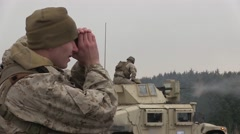 Marine Regiment (1/3), conduct Combined Anti-Armor Team (CAAT) training Stock Footage