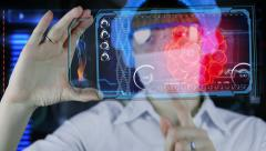 Doctor with futuristic hud screen tablet. Bacteria, virus.concept future Stock Footage