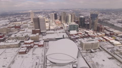Nashville Snow- Skyline coming closer Stock Footage