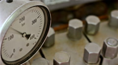 Pressure gauge in operation - stock footage