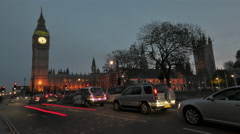 4k Time lapse of the traffic in front of the Big Ben and Westminster Abbey Stock Footage