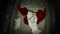 Map of Italy is on a plate with fork and knife and bleeding. Metaphor. Stock Footage