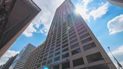 Standard and Poor's building exterior low angle blue sky New York City NYC Stock Footage