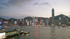 Stock Video Footage of victoria harbour hong kong time lapse