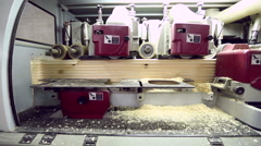 Modern equipment for processing of shaped timber Stock Footage