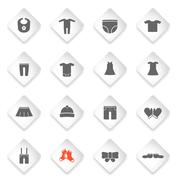 Stock Illustration of Baby clothes simply icons