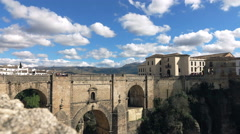 View of Ronda bridge in Andalusia Stock Footage