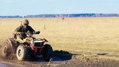Atv racing. Mud track. - stock footage