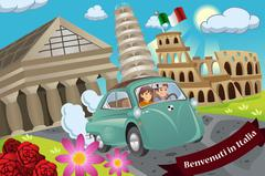 Couple  Honeymoon Around Italy Stock Illustration