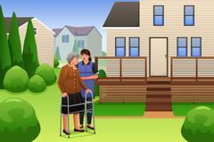 Lady Helping Elderly Woman Walking - stock illustration