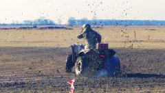 Atv racing. Mud track. - stock footage