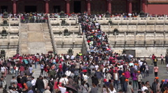 China tourism, large crowds visit Forbidden City in Beijing Stock Footage