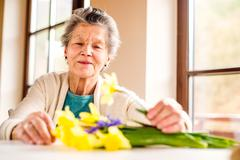 Senior woman by the window arranging bouquet of daffodils Stock Photos