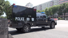 China special forces, military parade, SWAT vehicle, police, security, Beijing - stock footage