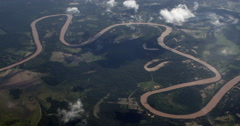 Aerial view. Brazilian river Cuiaba, Mato Grosso. Brazil. Pantanal, wetlands Stock Footage