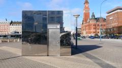 Fancy toilet building in Helsingborg Stock Footage