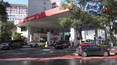 Sinopec petrol station in Beijing, state owned petroleum corporation China - stock footage