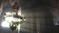Chandelier in Orthodox church Stock Footage