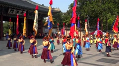 Changing of the Royal guard ceremony at the Daehan Gate of Deoksugung Palace. Stock Footage