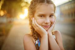 Little beautiful smiling girl close-up - stock photo